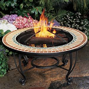 Ceramic Tile Hearth Outdoor Firepit