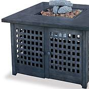 Square LP Gas Outdoor Firepit with Tile Mantel
