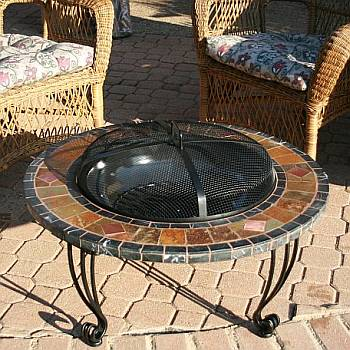 Slate and Marble Outdoor Fire Pit with Copper Accents - WAD820SP