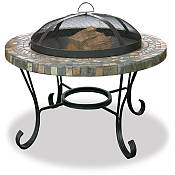 34in Slate and Marble Surround Firepit with Copper Accents