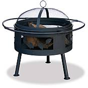 Aged Bronze Outdoor Fire Bowl with Leaf Design