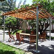 Contemporary Aluminum Post Wood Top Pergola