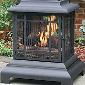 Black Outdoor Fireplace /  Firehouse with Cover