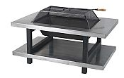 Two Shelf Stainless Steel Fire Pit Table