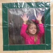 Green/Tan Vinyl Playhouse Window with Vinyl Window