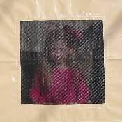 Tan Vinyl Playhouse Window with Mesh