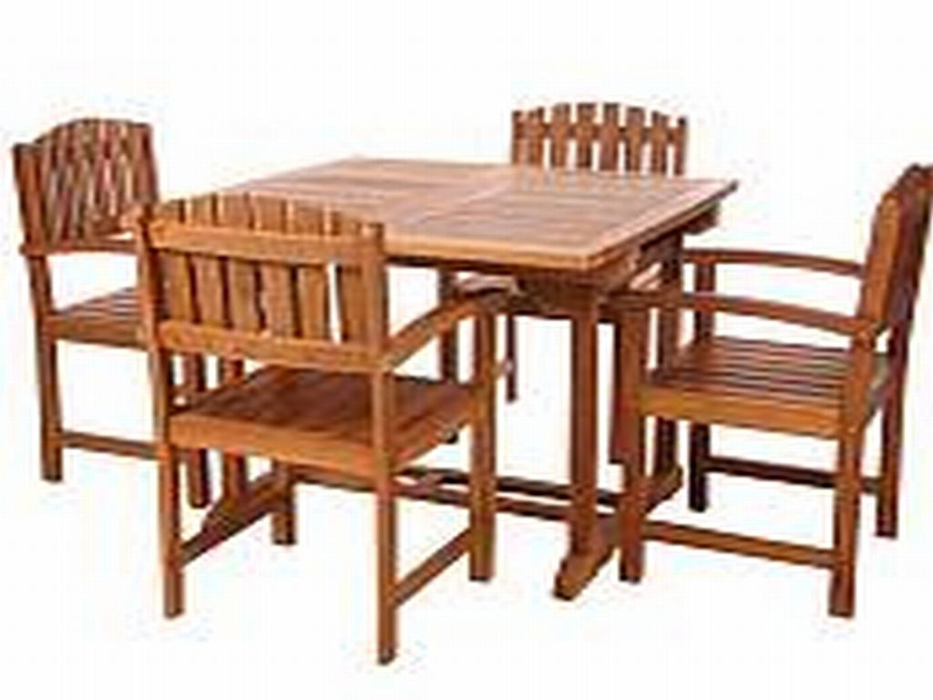 Teak wood patio furniture at the galleria for Patio furniture table set
