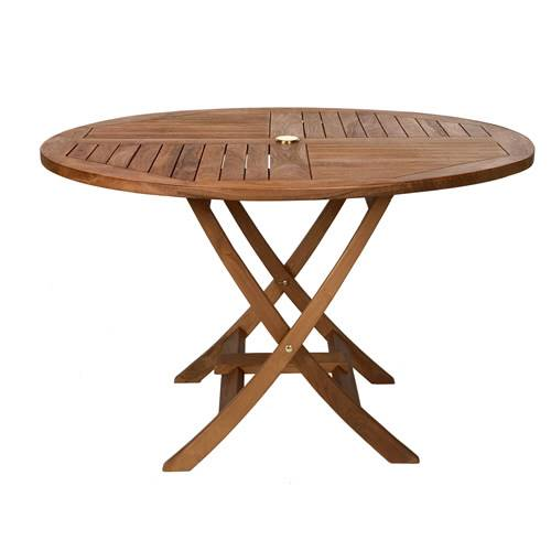 Superieur Teak Round Folding Table (Click For Larger View)