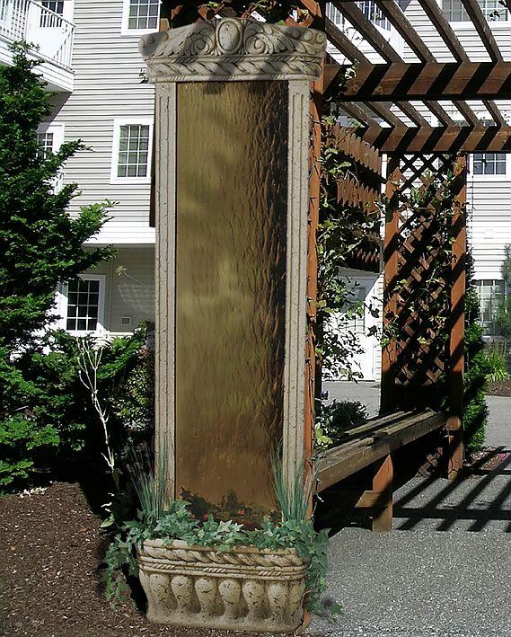 Water Garden Wall Fountain Bronze Mirror With Stone