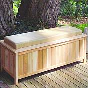 Large Cedar Storage Bench with Cushion Top