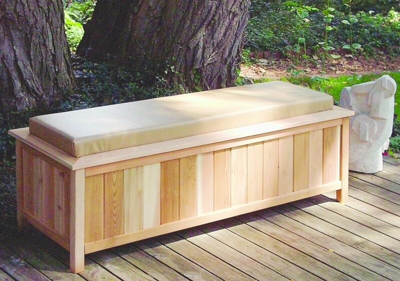 Large Cedar Storage Bench With Cushion Top 2054