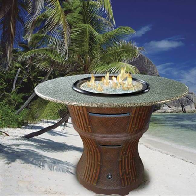 Tradewinds Outdoor Bar Height Gas Firepit With Granite Top