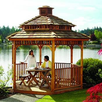 Hex Gazebo with 2-Tier Roof and cupola