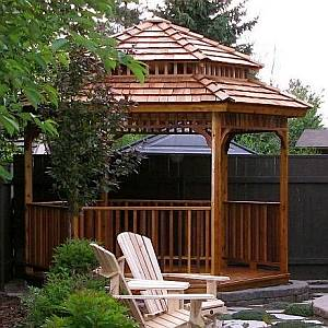Hex Gazebo with 2-Tier Roof