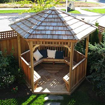 Hex Gazebo with Bench Kit