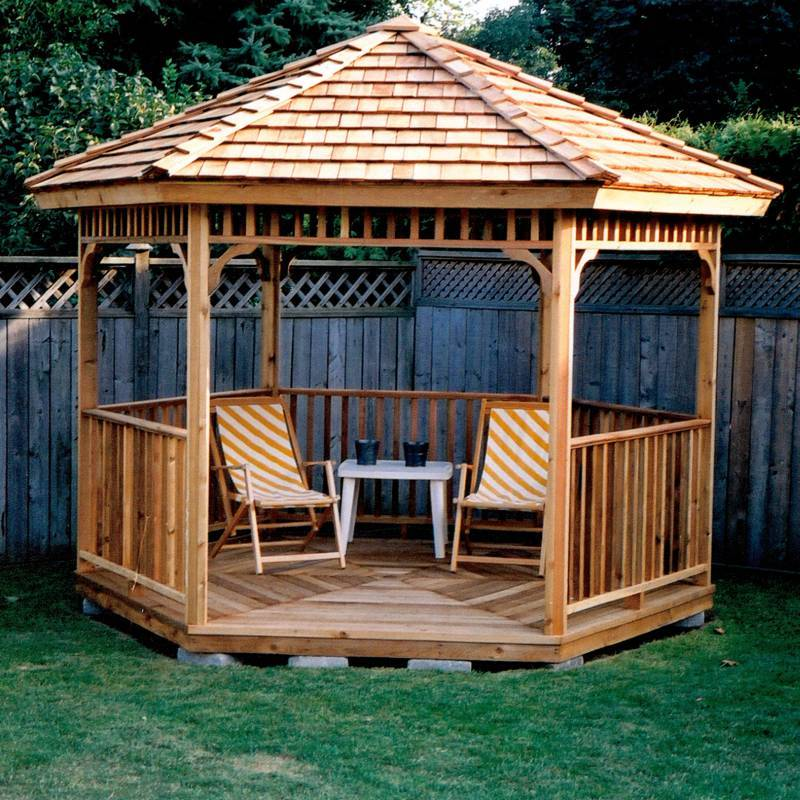 Hexagon cedar gazebo kit 8ft w86 for Garden design kits