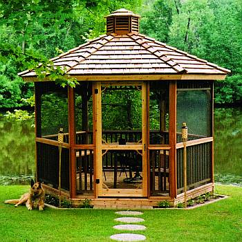 Hex Gazebo with Screen Kit and Cupola