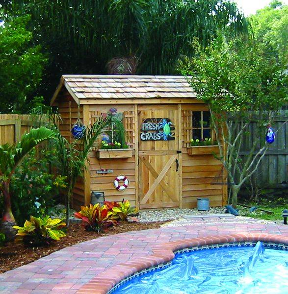 Cedar storage sheds and pool sheds for Garden pool sheds