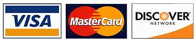 We accept Visa MasterCard American Express and Discover