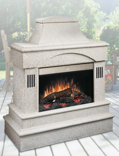 Dimplex Outdoor Electric Fireplaces add that special touch to your outdoor patio or porch. This fireplace has speakers and audio input jack which allows you to entertain all year round.