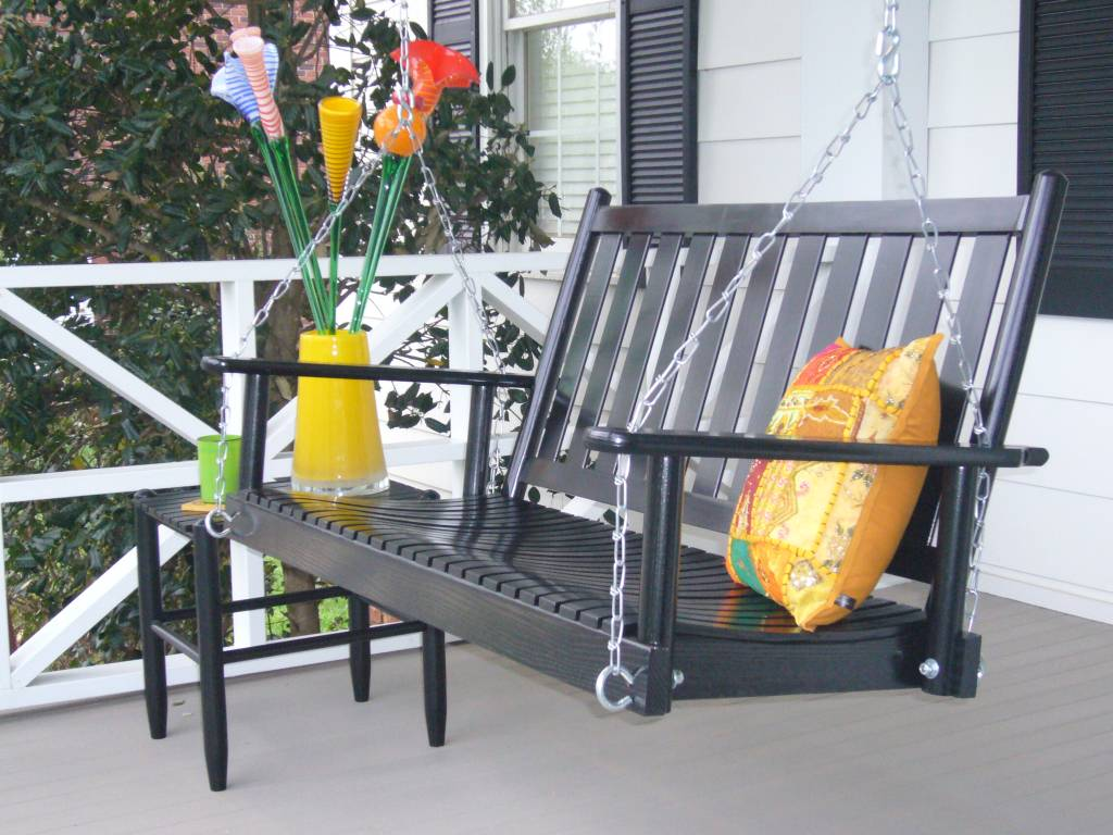 Wooden Outdoor Porch Swing By Dixie Seating Company (Click To Enlarge)