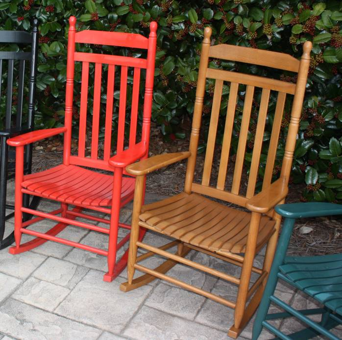 Exceptionnel Pair Of Country Style Slat Back Rocking Chairs