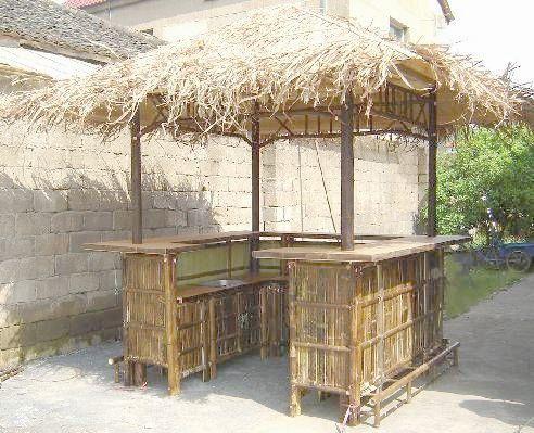 Tahiti Natural Bamboo Tiki Style Bar Hut With Sink 8ft X