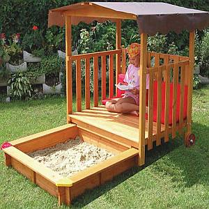 Exaco Rolling Playhouse Covered Sandbox