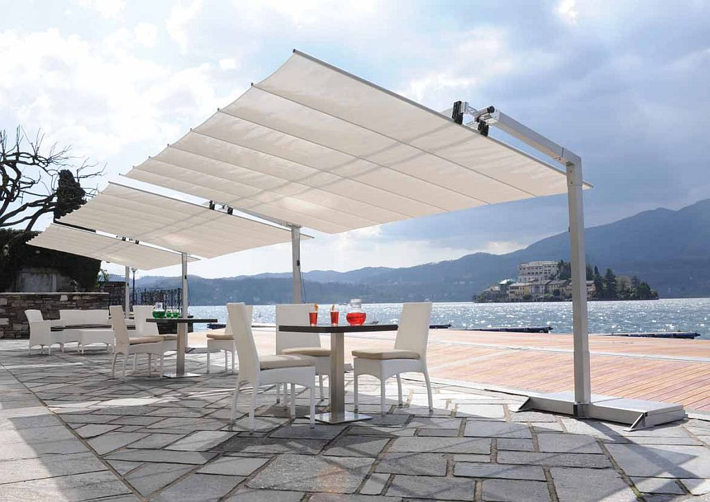 Backyard Awning Shade : Commercial Freestanding Awning  8ft Deep with Tilting Canopy  Flexy8