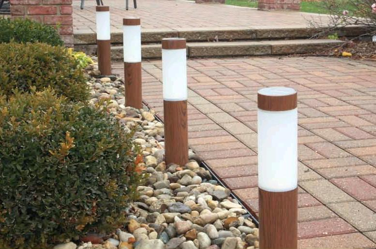 Solar Path Light With Wood Grained Finish