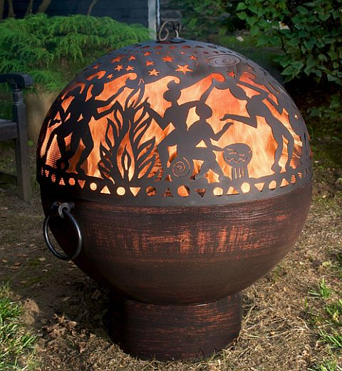 Copper Finish Firebowl With Full Moon Party Dome Fb3