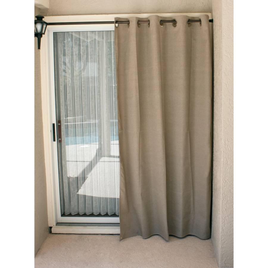 Coolaroo Exterior Designer Curtain Grommet Top Dark Linen
