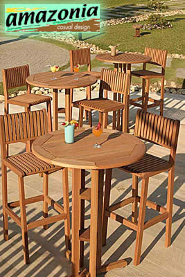 Eucalyptus Wood Bar Stools - Ibiza - Outdoor Patio Furniture - BT215