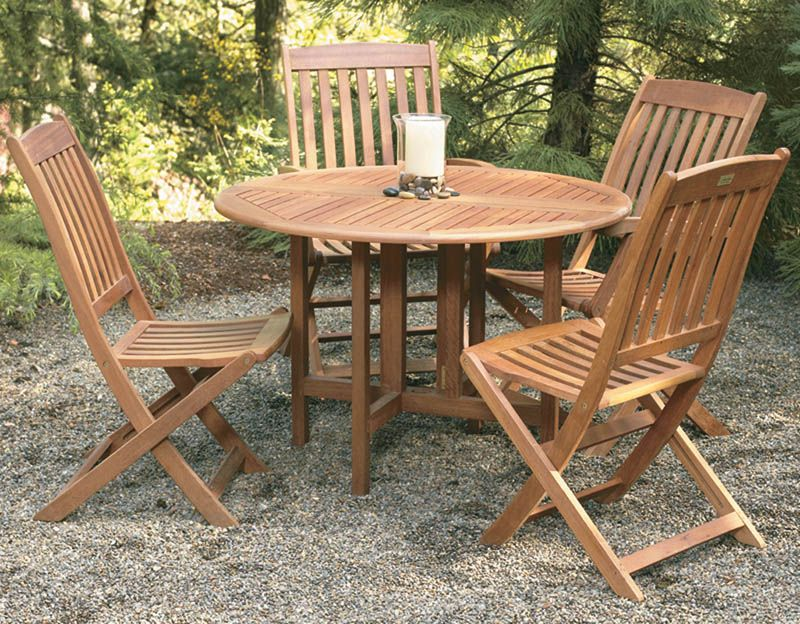 Celebration Eucalyptus DropLeaf Round Table Hardwood Outdoor - Teak patio table with leaf