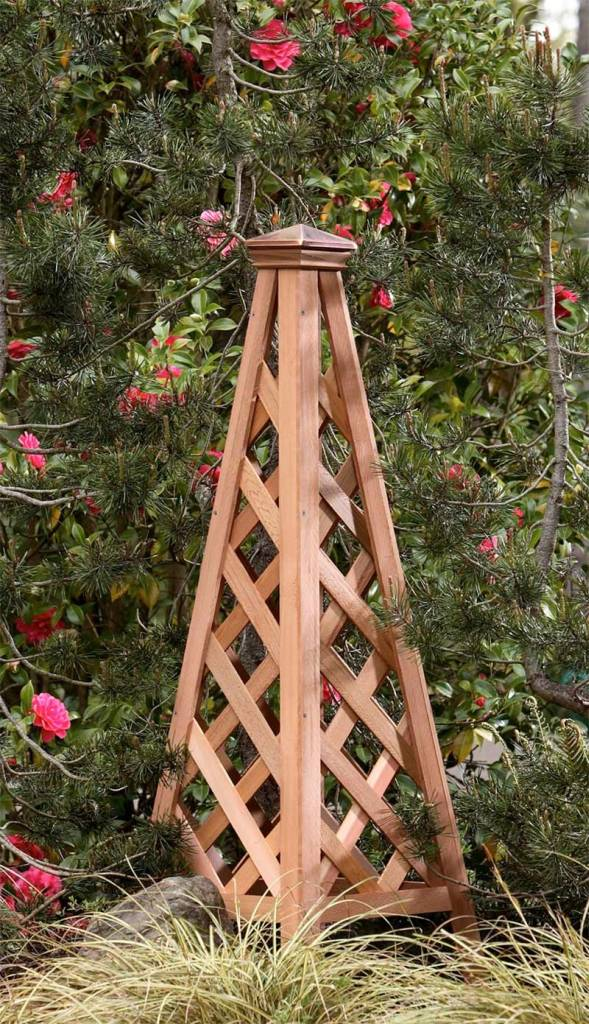 Copper Top Pyramid Trellis. Garden And Landscape Trellis