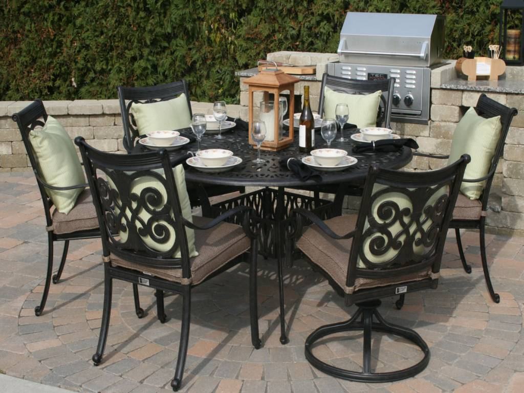 Hampton bay fall river 7 piece patio dining set patio for Decor 7 piece lunch set
