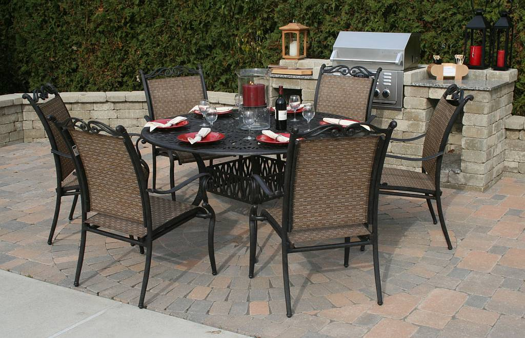 Garden Furniture Tables round patio table set patio furniture sets cascade 7 pc patio