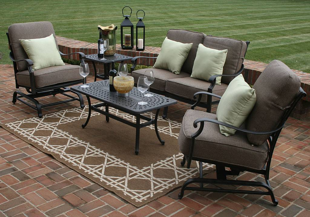 Herve 5 piece deep seating furniture set oal7144 for Garden patio furniture sets