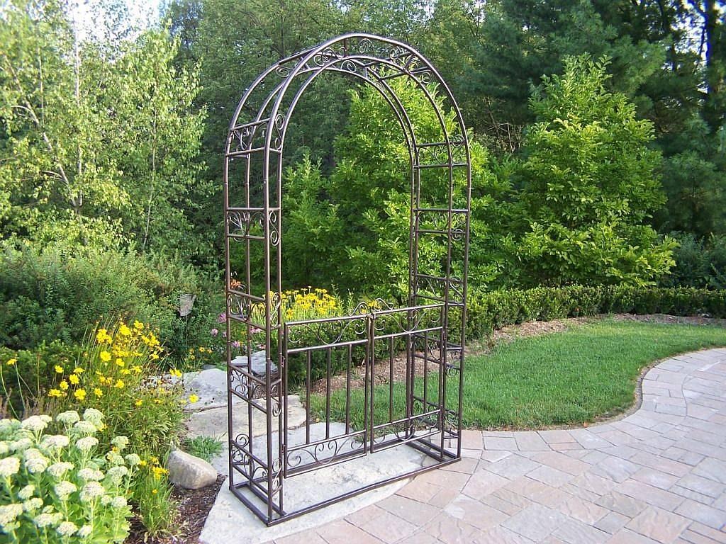 Metal Garden Arbor with Gate Outdoor spaces and garden