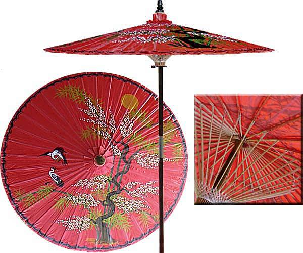 Amazon.com: Strathwood Basics Dark Wood Market Umbrella, Red