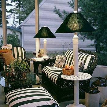 outdoor patio table and floor lamps. Black Bedroom Furniture Sets. Home Design Ideas