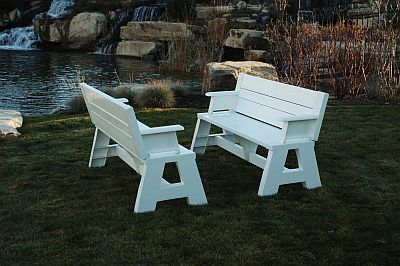 Outdoor Tables  Benches on Picnic Tables And Benches   Convertible Bench And Table