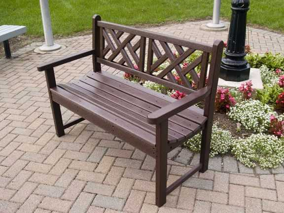 Chippendale 48in Garden Bench Recycled Outdoor Furniture