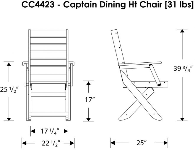 Captain 39 S Dining Chair Recycled Outdoor Furniture CC4423