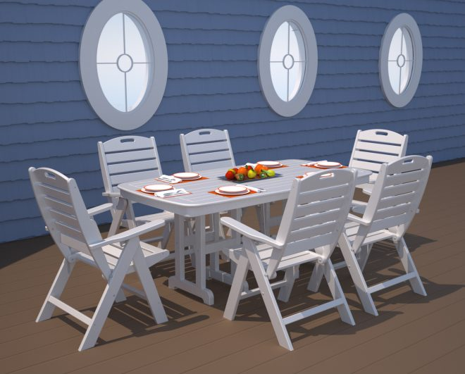Nautical 37in X 72in Rectangle Table Recycled Outdoor