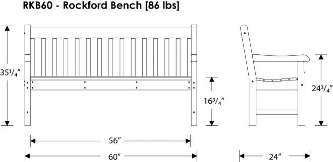 Rockford Garden Bench Recycled Outdoor Furniture Rkbxx