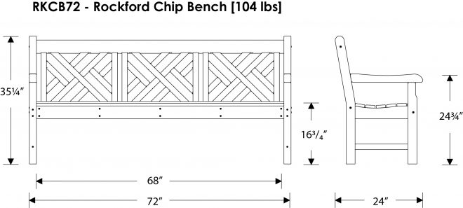 Rockford 72in Chip Garden Bench Recycled Outdoor