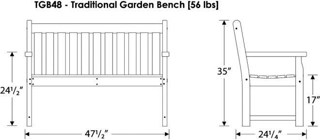 Traditional Garden Bench Recycled Outdoor Furniture Tgb48