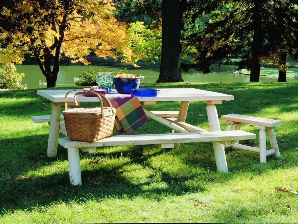 rectangle picnic table w bench lg Beer garden landscaping  interesting idea to change your backyard ( готова )