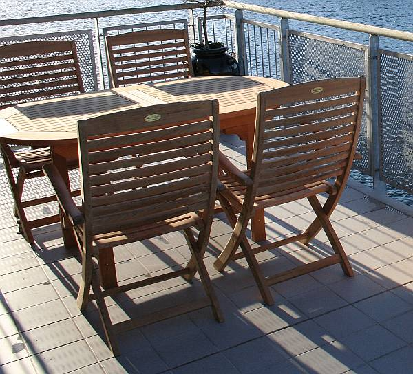 Oval Expansion Table 60   78 And Folding Chair Set. Teak Outdoor Patio  Furniture